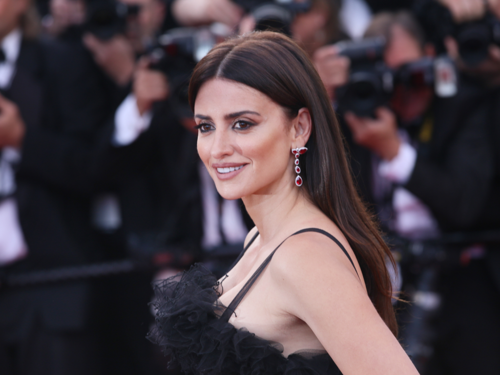 Penelope Cruz on the red carpet in a black dress with her hair down