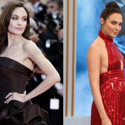 A composite image featuring Angelina Jolie in black, left, and Gal Gadot in red, right