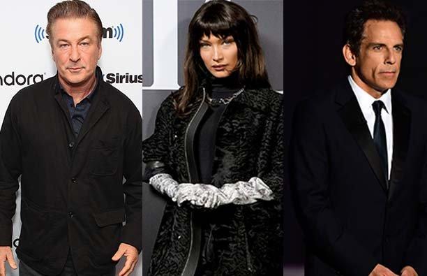 A photo of Alec Baldwin, a photo of Bella Hadid and a photo of Ben Stiller