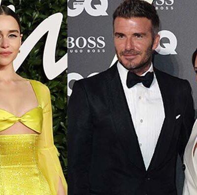 A photo of Emilia Clarke in a yellow dress next to a photo David Beckham and Victoria Beckham