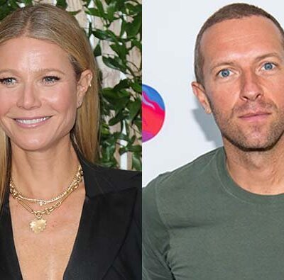 A photo of Gwyneth Paltrow in a black dress next to a photo of Chris Martin in a green t-shirt