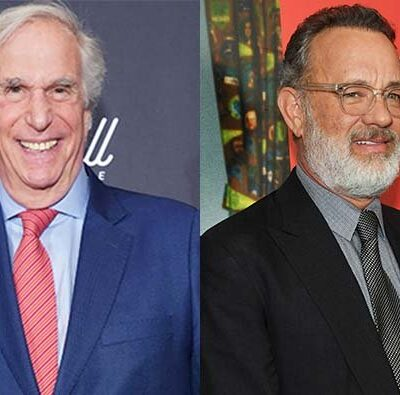 A photo of Henry Winkler in a suit next to a photo of Tom Hanks in a suit.