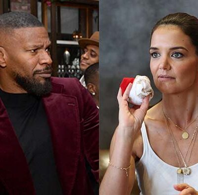A photo of Jamie Foxx looking confused, next to a photo of Katie Holmes in a white tank top