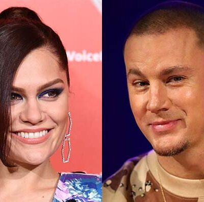 A photo of Jessie J in front of a pink background to the left of a photo of Channing Tatum in a camo