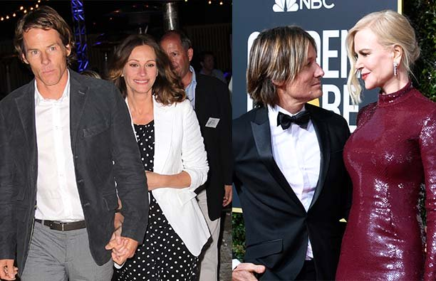 A photo of Julia Roberts and Danny Moder on the left, and Keith Urban and Nicole Kidman on the right