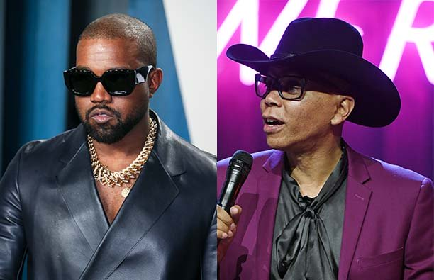 A photo of Kanye West wearing sunglasses next to a photo of RuPaul in a cowboy hat