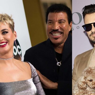 A photo of Katy Perry and Lionel Richie on the left and a photo of Orlando Bloom on the right