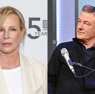 A photo of Kim Basinger in a white outfit next to a photo of Alec BAldwin speaking into a microphone