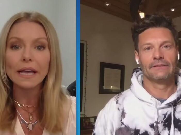 A screenshot from a recent episode of Live With Kelly and Ryan feature both hosts.