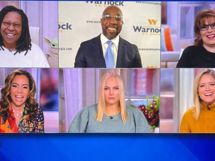 A screenshot from The View featuring Whoopi Goldberg, Meghan McCain, and Joy Behar among others