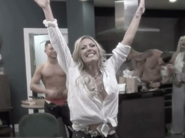 A screenshot of Braunwyn Windham-Burke partying on Real Housewives Of Orange County