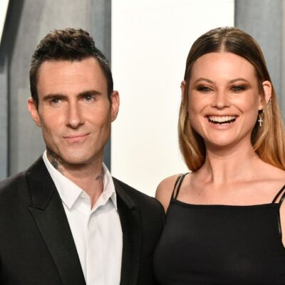 Adam Levine and Behati Prinsloo attend the 2020 Vanity Fair Oscar Party