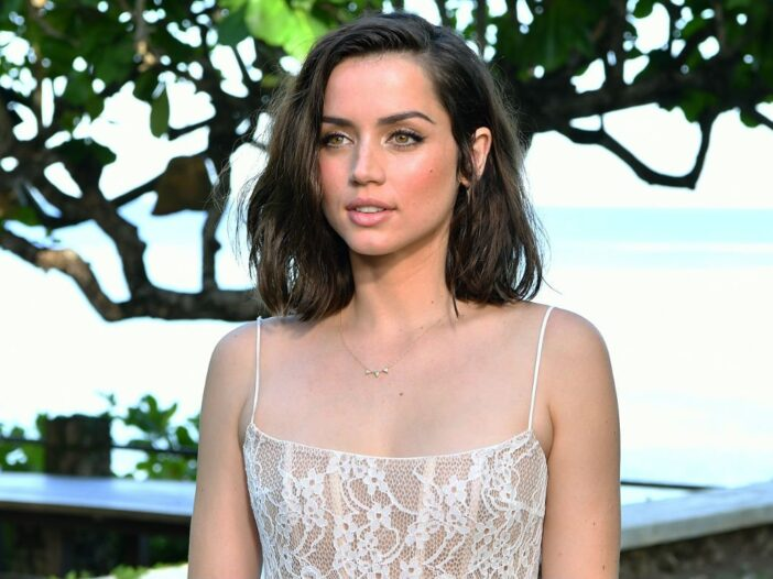 Ana de Armas in a white lace dress at Ian Fleming's home