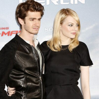 Andrew Garfield (left) and Emma Stone (right) when they were together in 2012