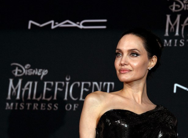 """Angelina Jolie in a black dress at the premiere of Disney's """"Maleficent: Mistress Of Evil"""" at the El"""