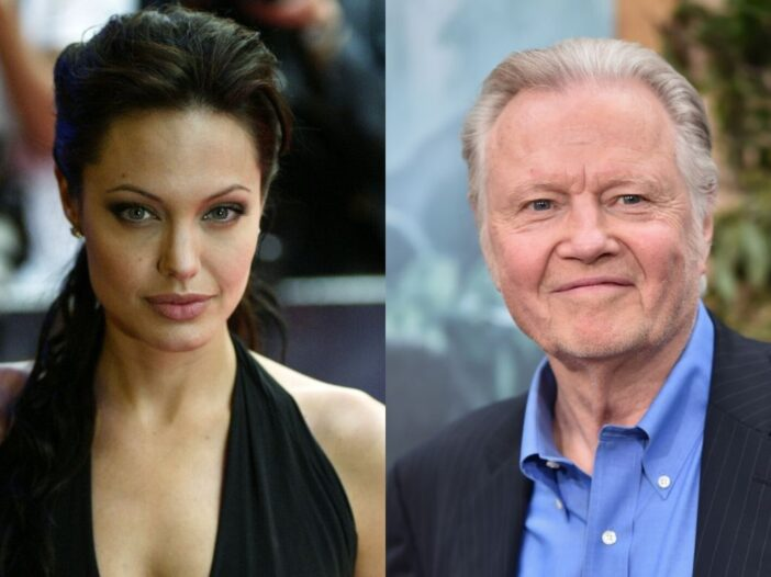 Angelina Jolie wearing a black dress on the red carpet. A separate photo of Jon Voight wearing a bla