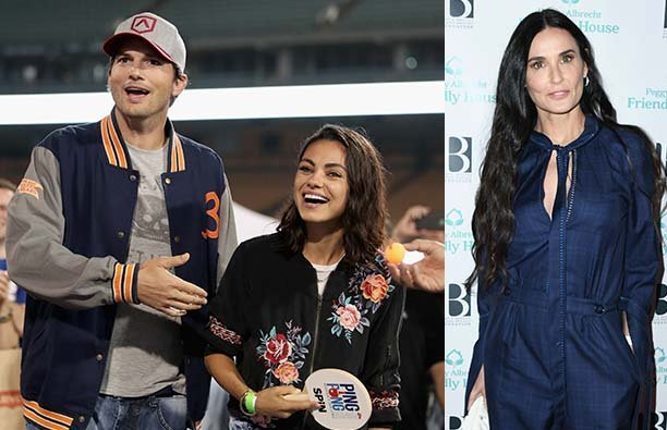 Ashton Kutcher and Mila Kunis at a baseball game next to a photo of Demi Moore in a blue romper.
