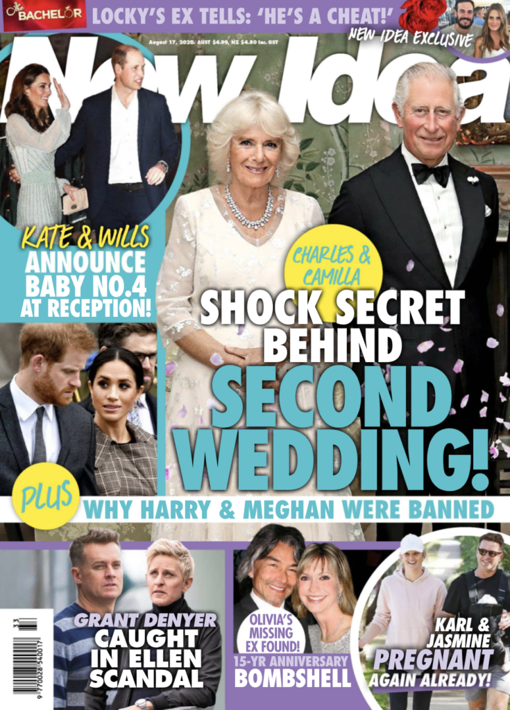 """August 17th, 2020 issue of New Idea Magazine with Prince Charles and Camilla Parker Bowles photo and the headline """"Second Wedding!"""""""
