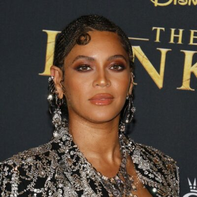 Beyoncé in a black and silver top at the premiere for _The Lion King_