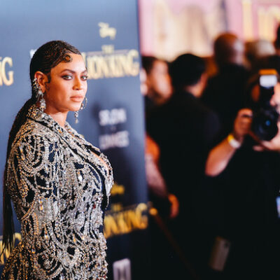 Beyonce in a black and white decorated outfit at the Lion King premiere
