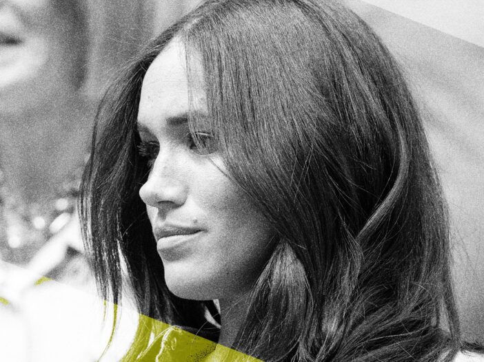 Black and white close up of Meghan Markle