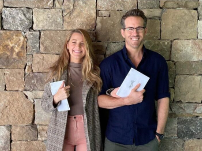 Blake Lively and Ryan Reynolds with mail-in ballots