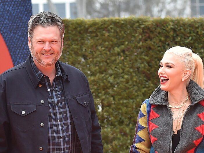 Blake Shelton and Gwen Stefani arrive together at the premiere of Ugly Dolls