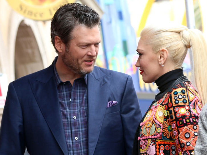Blake Shelton and Gwen Stefani chat at Adam Levine's Hollywood Walk Of Fame Ceremony