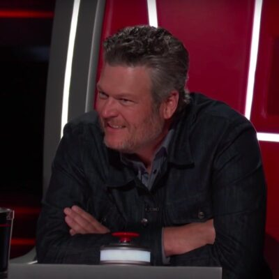 Blake Shelton sitting in a judge chair on _The Voice._