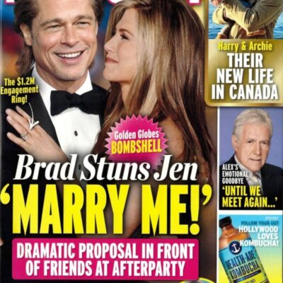 Brad Pitt and Jennifer Aniston In Touch cover about proposing at the Golden Globes
