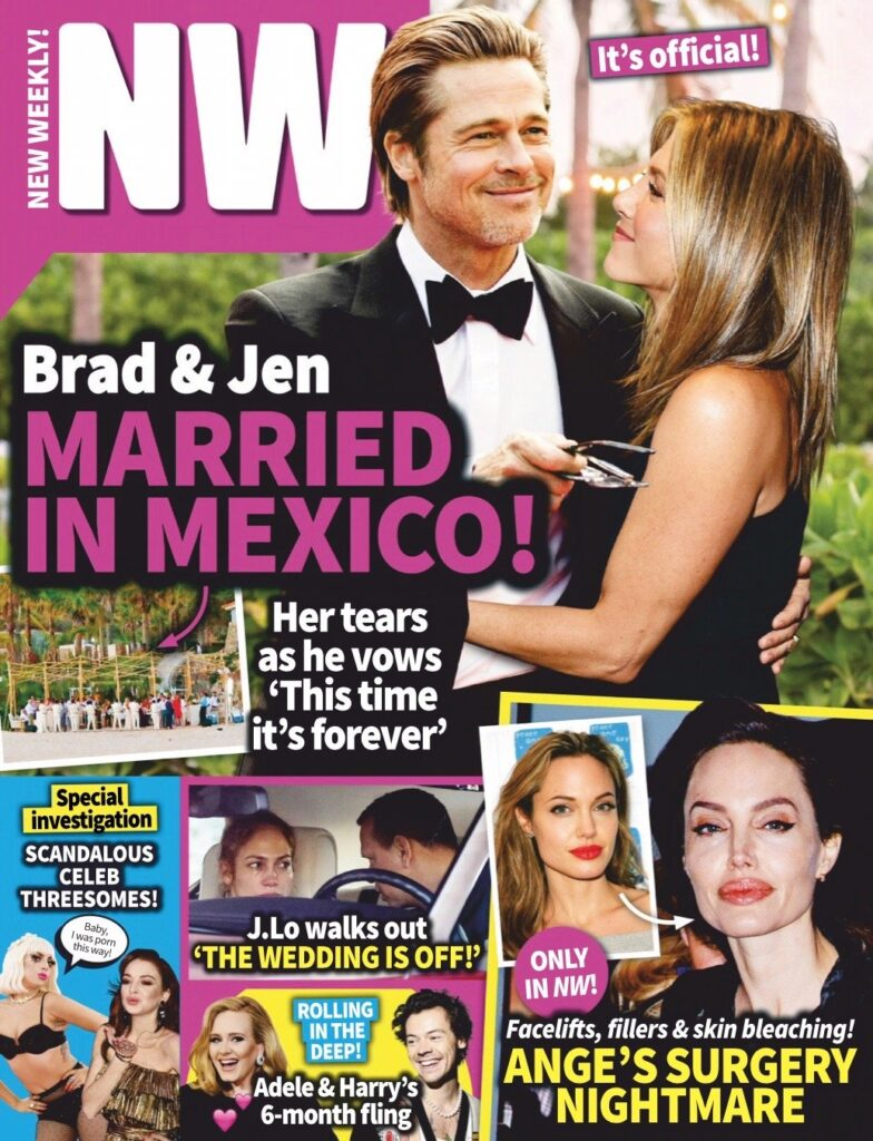 Brad Pitt and Jennifer Aniston married in Mexico cover story