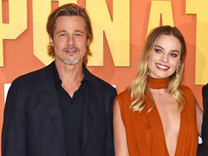 Brad Pitt and Margot Robbie at a screening of Once Upon a Time in Hollywood