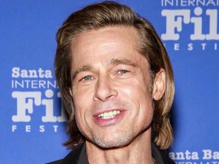 Brad Pitt smiling as he attends the 35th Annual Santa Barbara International Film Festival in 2020