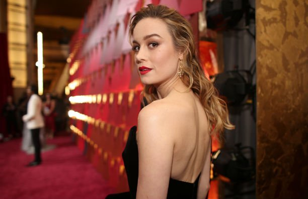 Brie Larson in a black dress on the red carpet