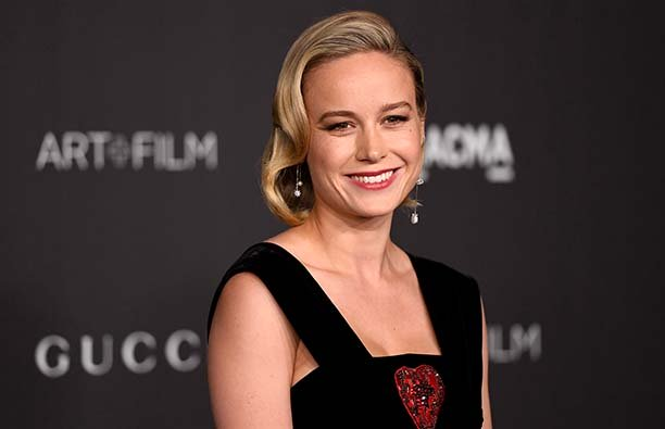 Brie Larson in a black dress on the red carpet.
