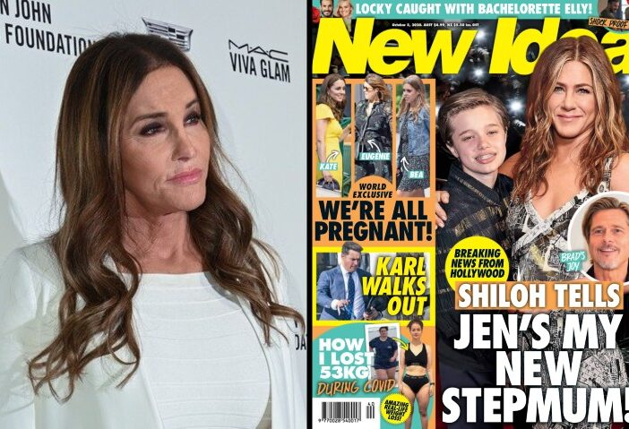 Caitlyn Jenner wearing white with a contemplative expression on the red carpet side by side with _New Idea_ cover featuring Jennifer Aniston hugging Shiloh Jolie-Pitt