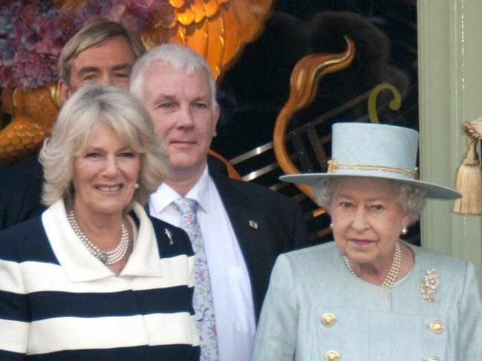 Camilla Parker Bowles on the left, Queen Elizabeth II on the right.
