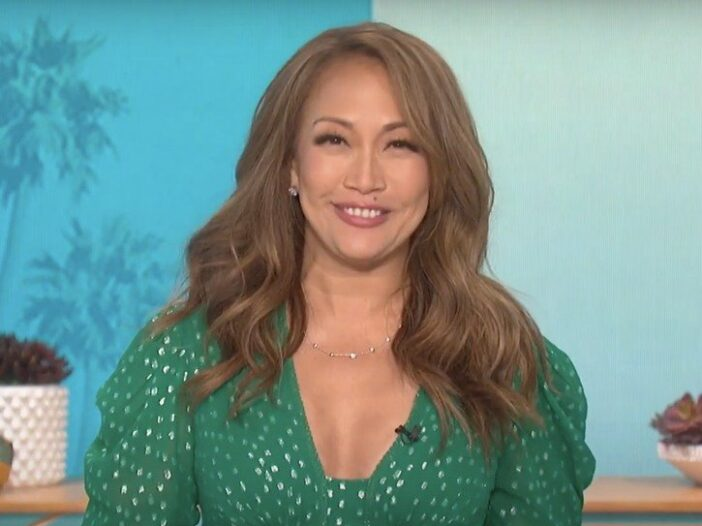 Carrie Ann Inaba wearing a green dress with white spots on The Talk