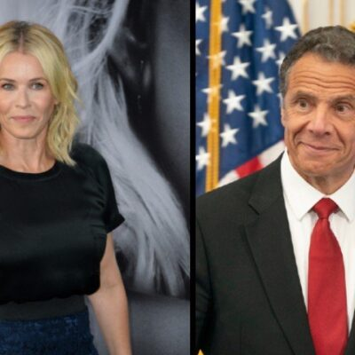 Chelsea Handler at 2017 movie premiere side by side with Governor Andrew Cuomo during a 2020 press briefing