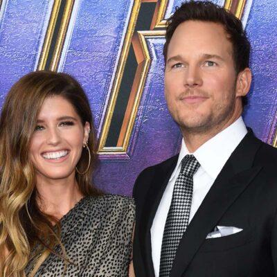 Chris Pratt and Katherine Schwarzenegger smiling for the cameras at the Avengers Endgame premiere.