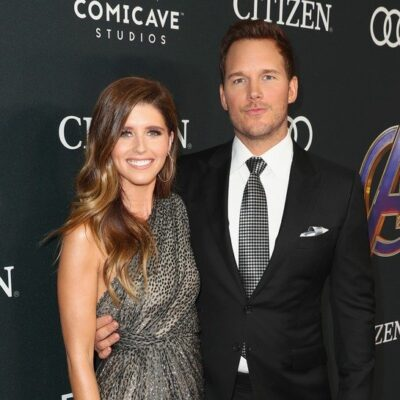 Chris Pratt in a tux on the right, Katherine Schwarzenegger in a shimmering dress on the left.