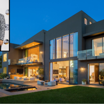 Chrissy Teigen and John Legend at red carpet event alongside outdoor view of sold mansion