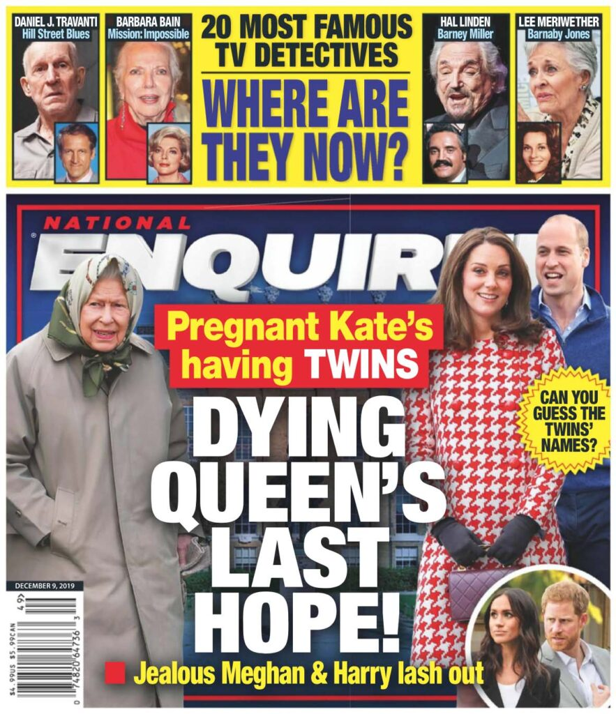 Cover of a December issue of the National Enquirer claiming Kate Middleton is pregnant with twins