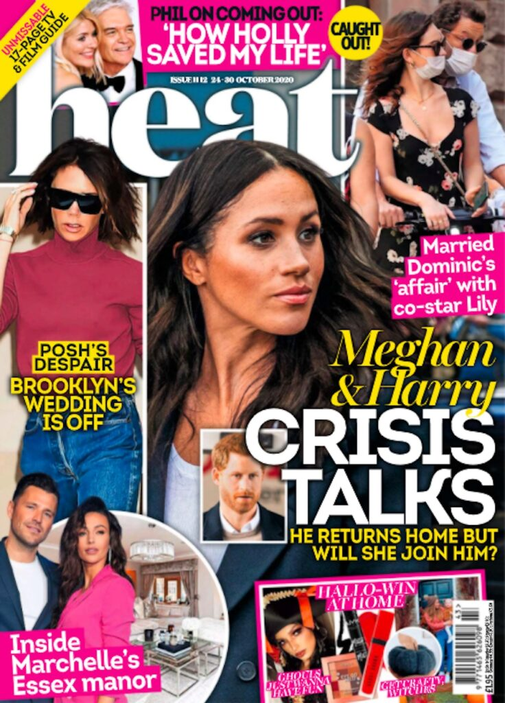 cover of Heat magazine with a picture of Meghan Markle looking stern alone