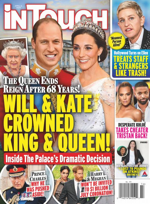 Cover of In Touch from last year declaring Prince William king and Kate Middleton queen.
