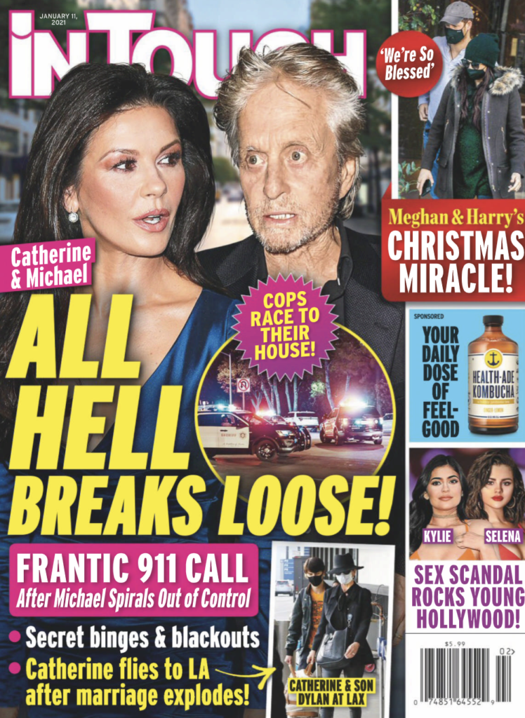 Cover of In Touch magazine dated January 11, 2021. Michael Douglas and Catherine Zeta-Jones are pictured.