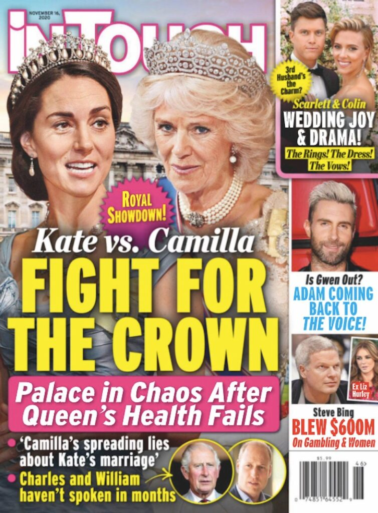 cover of In Touch magazine with text saying Kate vs. Camilla: Fight for the Crown