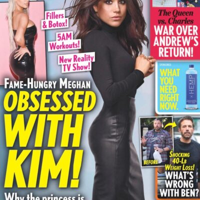 cover of Life & Style with Meghan Markle in a sleek black dress and text: OBSESSED WITH KIM