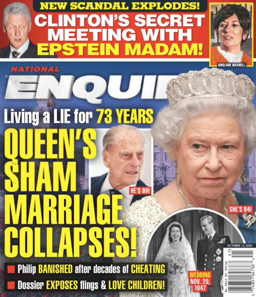 cover of National Enquirer featuring Queen Elizabeth II and Prince Philip