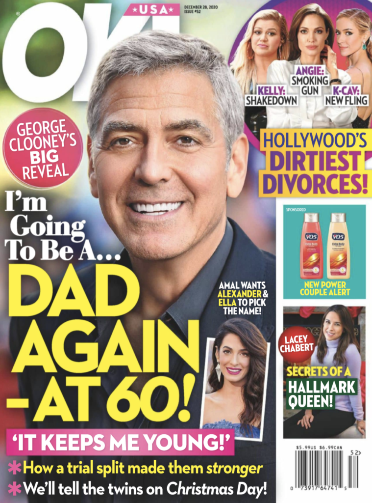 Cover of OK! Magazine with headline about George Clooney become a father.
